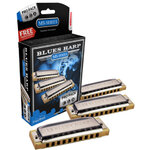 Hohner Blues Harp 3-Pce Harmonica Pro Pack in the Keys C, G, A