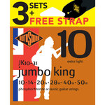 Rotosound Jumbo King Phosphor Bronze Acoustic Guitar 3 Set Value Pack with Free Strap